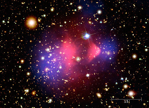 The distribution and movement of galaxies helped scientists figure out that dark matter could must be hiding in there. (NASA/CXC/M. Weiss (Chandra X-Ray Observatory: 1E 0657-56) [Public domain], via Wikimedia Commons)
