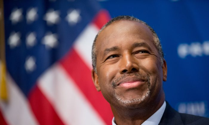 In this Oct. 9, 2015 photo, Republican presidential candidate Dr. Ben Carson speaks at a luncheon at the National Press Club in Washington. (AP Photo/Andrew Harnik)