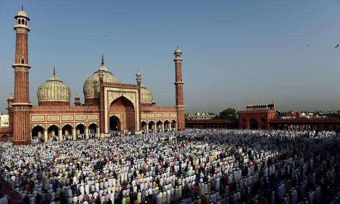 Indian Muslims pray during the Eid al-Adha festival at Jama Masjid in New Delhi on Sept. 25, 2015. (Money Sharma/AFP/Getty Images)