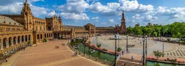 The Plaza de Espana is a plaza in the Parque de Maria Luisa, in Seville