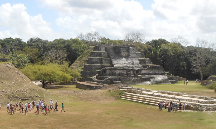 The main plaza at Altun Ha, looking toward the Temple of the Masonry Altars. The ancient Mayan city was occupied from about 900 B.C. to A.D. 1000 A.D. (Photos by Bruce Blake)