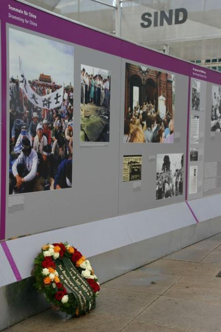 IN MEMORIAM: An Open-air Exhibit at  Alexanderplatz in Berlin commemorates the 20th anniversary of the fall of the Berlin Wall. A wreath was laid to honor the victims of the Tiananmen Square Massacre by Gunter Nooke, Human Rights Representative for the Federal Republic of Germany. (courtesy of Robert Havemann Association)