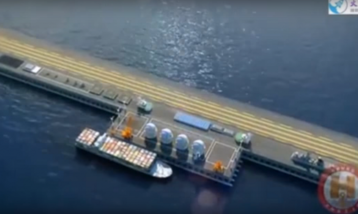 """A concept for a """"Very Large Floating Structure"""" mobile sea base is shown in a Chinese promotional video, which was posted online by naval defense industry magazine, Navy Recognition. The mobile base project was recently unveiled at the National Defense Science and Technology Achievements exhibition in Beijing. (YouTube screenshot)"""
