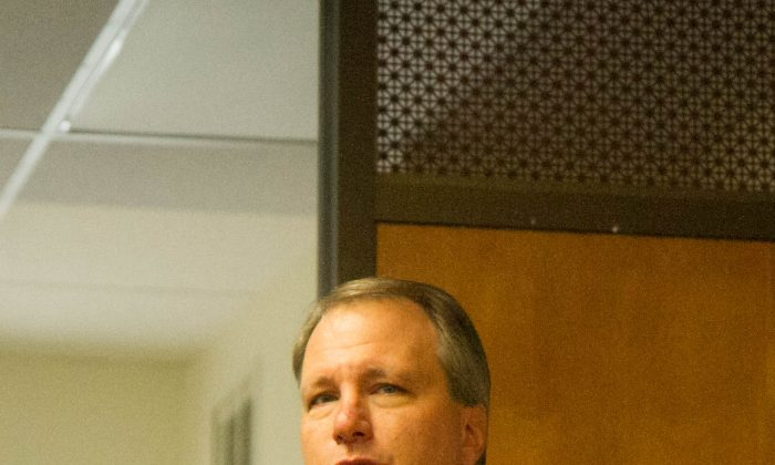 David Hoovler, Orange County District Attorney, speaks at a press conference in Newburgh for Domestic Violence Awareness month on Oct. 2, 2015. (Holly Kellum/Epoch Times)