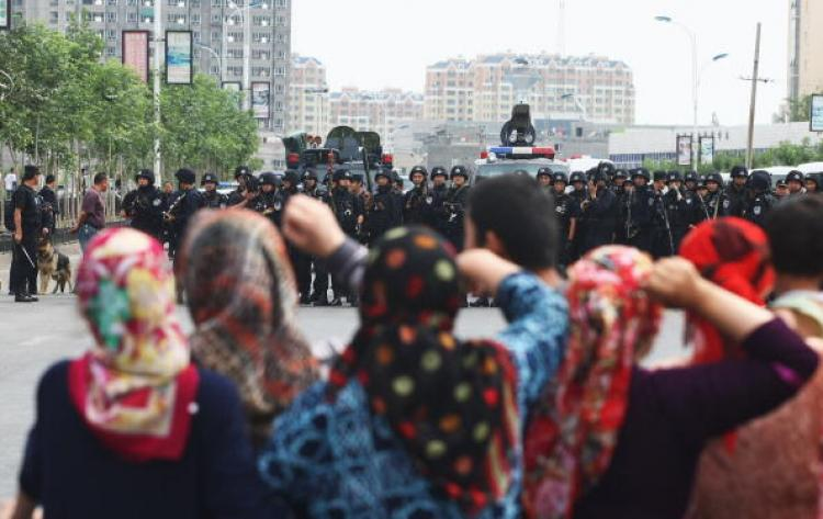 Protest in Xinjiang on July 5, 2009 (Getty Images)