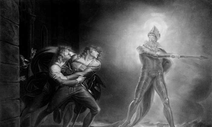 """Hamlet, Horatio, Marcellus, and the Ghost, on platform before the Palace of Elsinor; from """"Hamlet, Prince of Denmark,"""" Act I, Scene IV by Henry Fuseli, on Sept. 29, 1796, after a 1789 painting by Kaufmann. (Library of Congress)"""