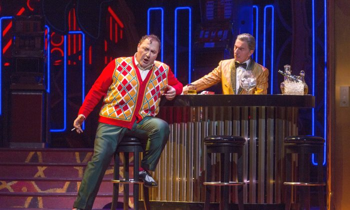 """George Gagnidze, in the title role of Verdi's """"Rigoletto,"""" pays the price for mocking those in pain.  (Richard Termine/ Metropolitan Opera.)"""