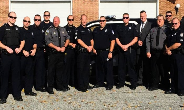 Officers with the Eastern Pike Regional Police, Deerpark Police, and Port Jervis Police departments who are participating in No Shave November to benefit cancer research. (Courtesy Port Jervis Police Dept.)