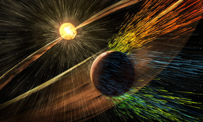 Artist's rendering of a solar storm hitting Mars and stripping ions from the planet's upper atmosphere. (NASA)