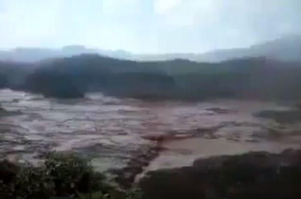 The dam broke in Mariana, Brazil (Screenshot/YouTube)