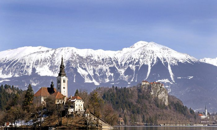 Bled, one of the most famous tourist resorts in Slovenia, with it's old castle above the Bled lake, under the Kamnik Alps. (Hrvoje Polan/AFP)