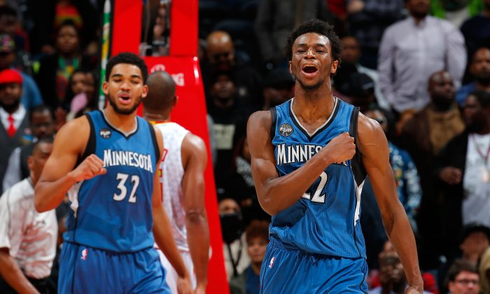 Andrew Wiggins (R) and Karl-Anthony Towns of the Minnesota Timberwolves are two of the best young players in the league. (Kevin C. Cox/Getty Images)