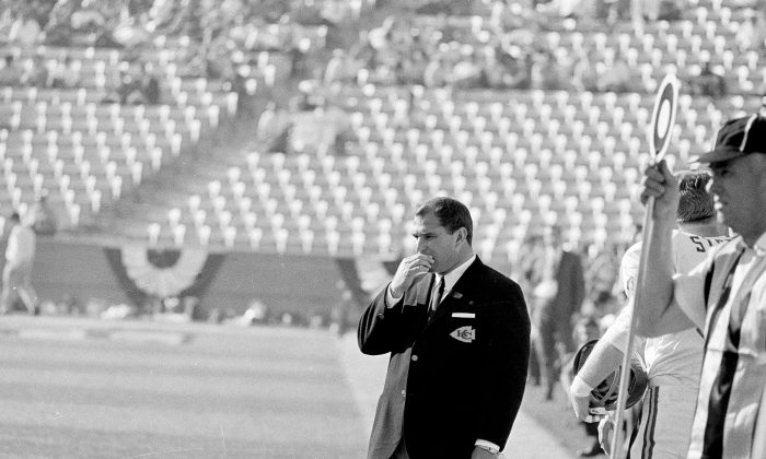 Coach Hank Stram of the Kansas City Chiefs suffers through his team's 35-10 loss to the Green Bay Packers during Super Bowl I at the Los Angeles Memorial Coliseum in Los Angeles, Calif., Jan. 15, 1967. (AP Photo)