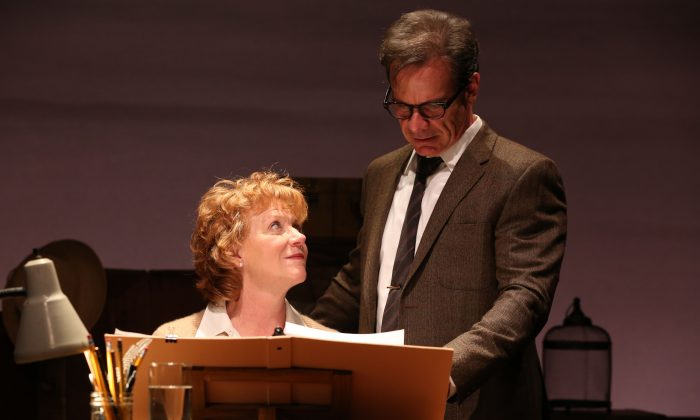 Poets Elizabeth Bishop (Becky Ann Baker) and Robert Lowell (Peter Scolari) support each other through a long and great friendship. (Joan Marcus)