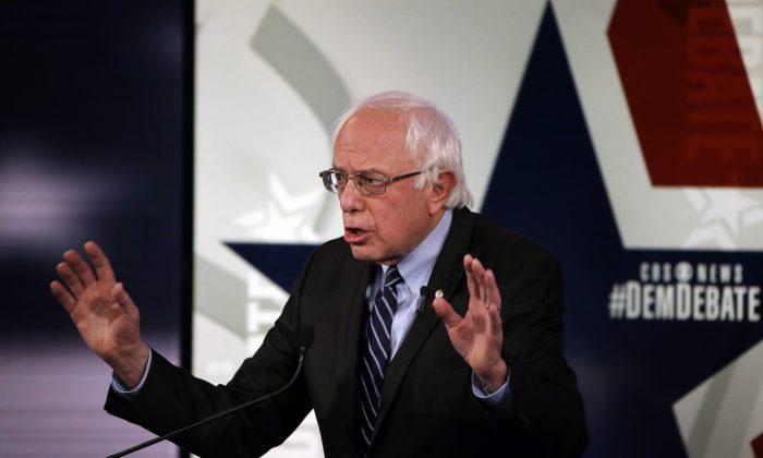 Bernie Sanders speaks during a Democratic presidential primary debate in Des Moines, Iowa, on Nov. 14, 2015. (AP Photo/Charlie Neibergall)