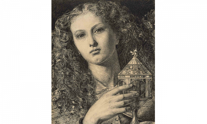 Frederick Sandys, King Pelles' Daughter Bearing the Vessel of the Sangreal, 1861, pen and black ink on paper. (Promised Gift from the Lanigan Collection, Saskatoon. Photo © NGC)