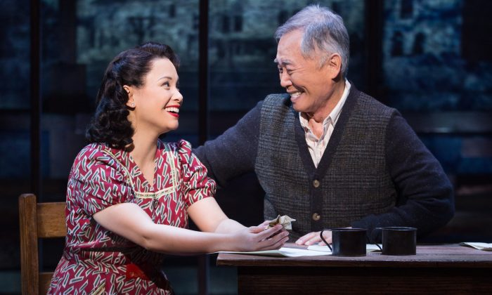 """Lea Salonga and George Takei in """"Allegiance,"""" which exposes the plight of Japanese-Americans during their internment in World War II. (Matthew Murphy)"""