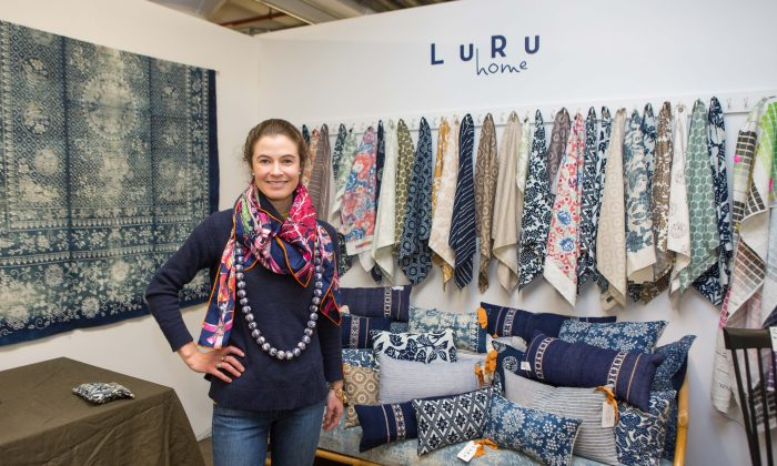 Claire Russo Co Founder of Luru Home, with her sustainable textile work at the Pratt Institute in Brooklyn, New York, on Nov. 16, 2015. (Benjamin Chasteen/Epoch Times)