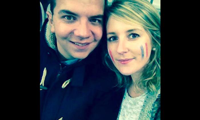 Coralie Dantan and her boyfriendMikael Auzou at a soccer match at Stade de France on Nov. 13, before three terrorists detonated bombs outside the stadium. (Courtesy of Coralie Dantan)