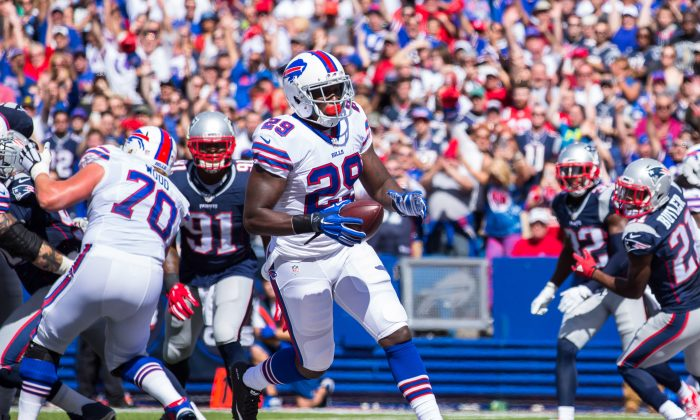 Karlos Williams of the Buffalo Bills runs in a touchdown on the first drive against the New England Patriots on Sept. 20 at Ralph Wilson Stadium in Orchard Park, New York. Buffalo and New England meet again on Monday Night Football. (Brett Carlsen/Getty Images)