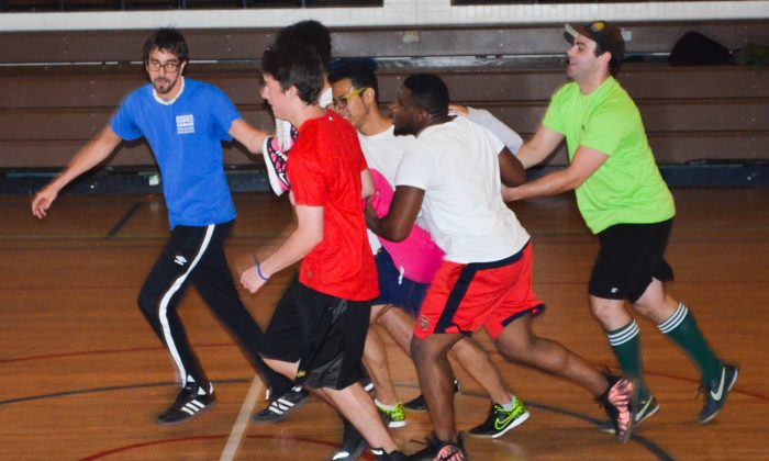 Participants in street soccer training in Middletown on Nov. 15, 2015. (Yvonne Marcotte/Epoch Times)