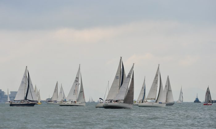 Boats at the 8:30am start in the Marriott Rewards Round the Island Race 2015 on Sunday Nov 15, 2015. (Bill Cox/Epoch Times)