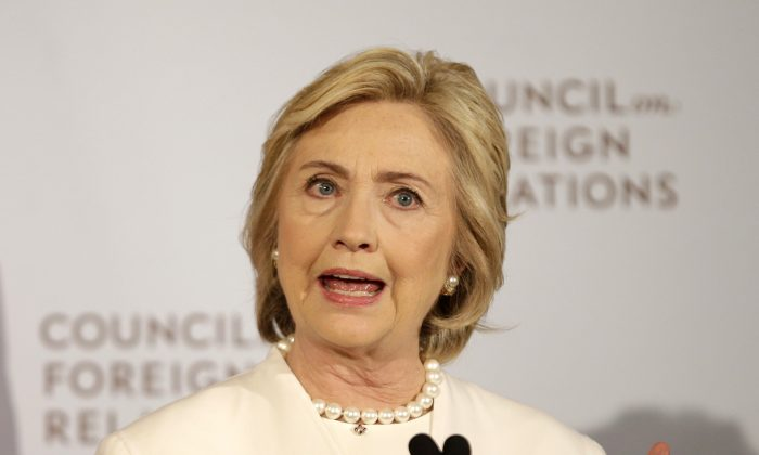 Democratic presidential candidate Hillary Rodham Clinton speaks at the Council on Foreign Relations in New York on Nov. 19, 2015. (AP Photo/Seth Wenig)