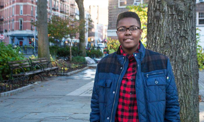 Victoria Barrett, 16, near her high school in Manhattan on Nov. 17, 2015. Barrett is a plaintiff in a climate change lawsuit against the federal government. (Janita Lum/Epoch Times)