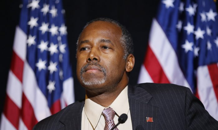In this Nov. 16, 2015 photo, Republican presidential candidate Dr. Ben Carson speaks at a news conference in Henderson, Nev.  (AP Photo/John Locher)