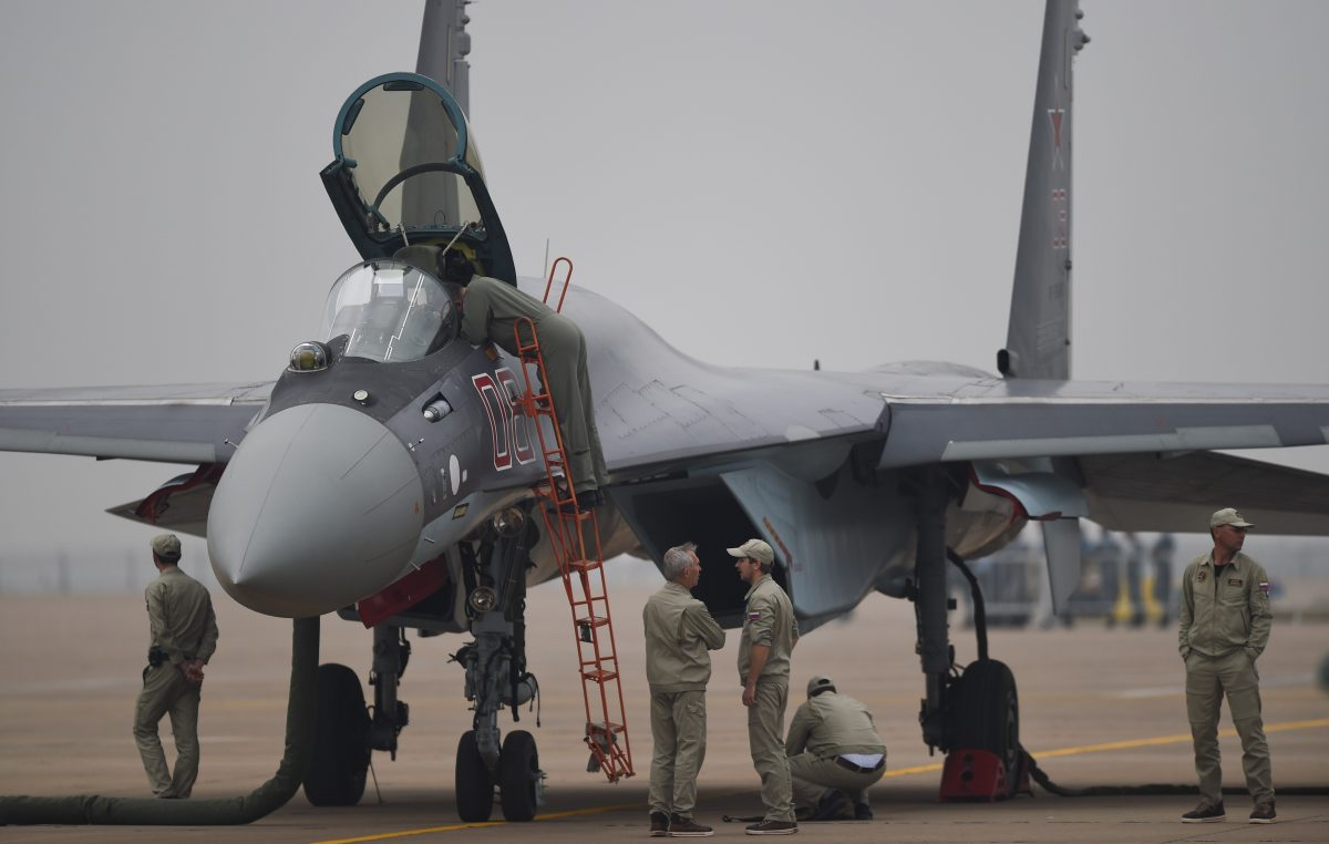 A Sukhoi Su-35 fighter jet is displayed in Zhuhai, China, on Nov. 10, 2014. The Chinese regime recently purchased 24 Russian Su-35 jets. (Johannes Eisele/AFP/Getty Images)