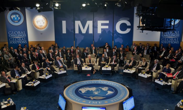 International Monetary Fund Managing Director Christine Lagarde speaks at the 40th anniversary of the IMFC meeting at the IMF Headquarters in Washington, April 20, 2013. (Stephen Jaffe/IMF via Getty Images)
