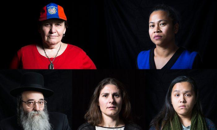 Clockwise from top left: Anoush Ter Taulian, Chhaya Chhoum, Delena Hoang, Natalia Frias-Staheli, and Rabbi David Niederman. (Samira Bouaou/Epoch Times)
