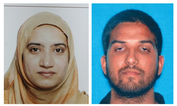 Tashfeen Malik and her husband, Syed Farook, died in a fierce gunbattle with authorities several hours after their commando-style assault on a gathering of Farook's colleagues from San Bernardino, Calif., County's health department, on Wednesday, Dec. 2, 2015. (FBI via AP)