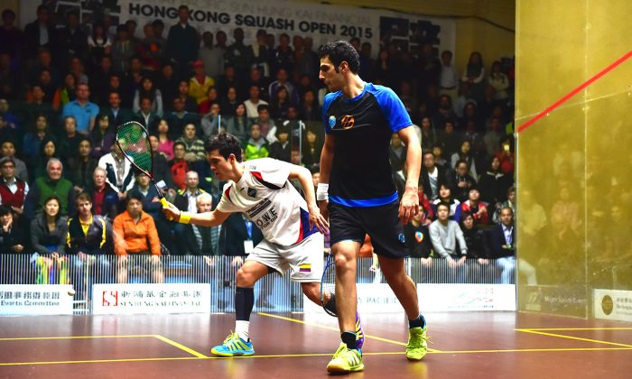 This all action match between Columbian, Miguel Angel Rodriguez and Omar Mossad of Egypt, seeded 4 and 6 respectively. Rodriguez looked well in control in the early games winning the first two 11-3, 11-3 but Mossad talented and tenacious as ever clawed his way to back into the match taking the next two 11-9, 11-9 to set up an awsome 5th game decider. Mossad, at 10-5 down was facing defeat but gradually pulled back to 10-10 and went on to win the decider 13-11. He will meet No1 seed Mohamed Elshorbagy in today's semi-final. (Bill Cox/Epoch Times)