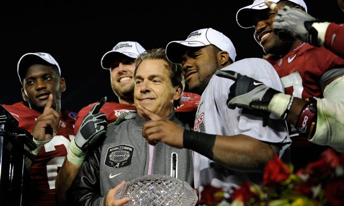 Nick Saban and the Alabama Crimson Tide won the 2009 title game over Texas, yet they likely would have had to defeat another undefeated team that year if there were a four-team playoff in place. The question is which one. (Kevork Djansezian/Getty Images)