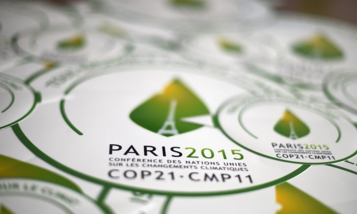 Stickers of the COP21, the Climate Change Conference 2015 in Paris. (Dominique Faget/AFP/Getty Images)