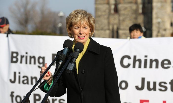 Liberal MP Judy Sgro was one of severl MPs who attened a rally on Parliament Hill on Dec. 9, 2015, and spoke in support of ending the campaign of persecution agains Falun Gong practitioners in China that was launched in 1999. (Evan Ning/Epoch Times)