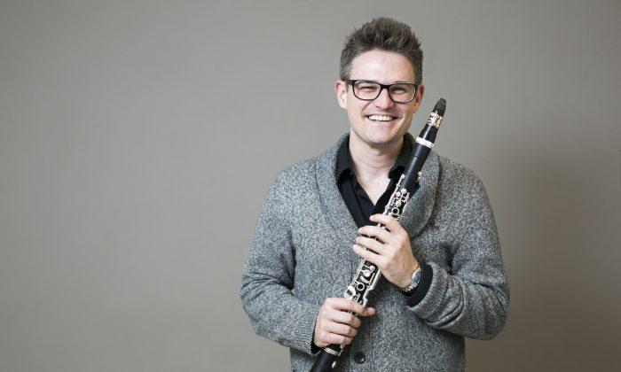 Clarinet player Sebastian Lambertz at The New School in New York, on Nov. 29, 2015. (Samira Bouaou/Epoch Times)