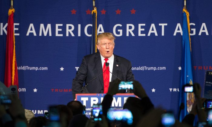 Republican presidential candidate Donald Trump speaks to the crowd at a Pearl Harbor Day Rally at the U.S.S. Yorktown Dec. 7, 2015 in Mt. Pleasant, South Carolina. (Sean Rayford/Getty Images)