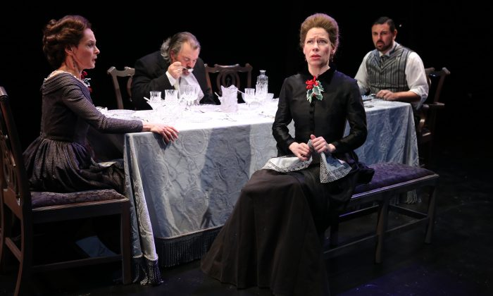 "(L–R) Giselle Wolf, Brad Fryman, Barbra Wengerd, and John Pasha in the rarely produced ""The Long Christmas Dinner,"" by Thornton Wilder. (Carol Rosegg)"
