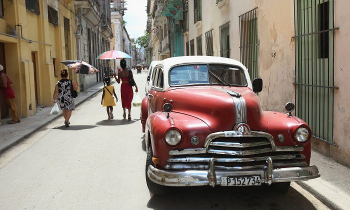 An antique American-made automobile is parked in the old part of Havana, Cuba, on Aug. 14, 2015. (Chip Somodevilla/Getty Images)