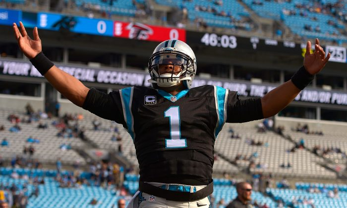 Cam Newton of the Carolina Panthers could be in line for his first MVP award. (Grant Halverson/Getty Images)