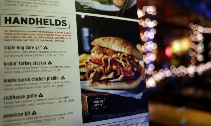Sodium warning signs are seen next to a dish (shown as black triangle icon) on the menu at an Applebee's in New York on November 30, 2015. (JEWEL SAMAD/AFP/Getty Images)