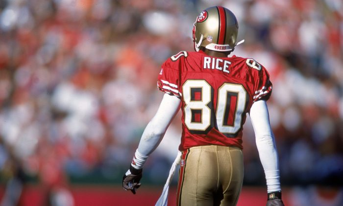 Jerry Rice is the greatest receiver of all-time and he has the records to prove it. (Jed Jacobsohn /Allsport/Getty Images)