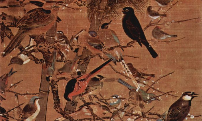 "Closeup of a Ming Dynasty painting depicting the ""Three Friends of Winter""—the pine, bamboo, and plum blossom—titled ""Three Friends and 100 Birds"" by artist Bian Wenjin, also known as Bian Jingzhao. (Public Domain)"