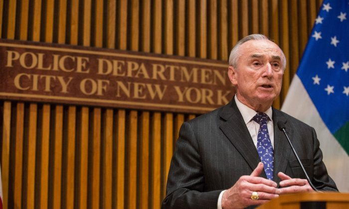 New York Police Department (N.Y.P.D.) Commissioner Bill Bratton answers questions at a press conference after speaking at the New York Police Department Shield Conference on December 16, 2015 in New York City. (Andrew Burton/Getty Images)