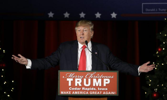 Republican presidential candidate Donald Trump speaks during a campaign rally at the Veterans Memorial Building, Saturday, Dec. 19, 2015, in Cedar Rapids, Iowa. (AP Photo/Charlie Neibergall)