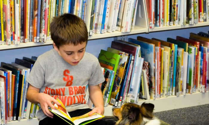 Luke, 8, reads to Dusty at the public library in Florida on Dec. 18, 2015. (Yvonne Marcotte/Epoch Times)