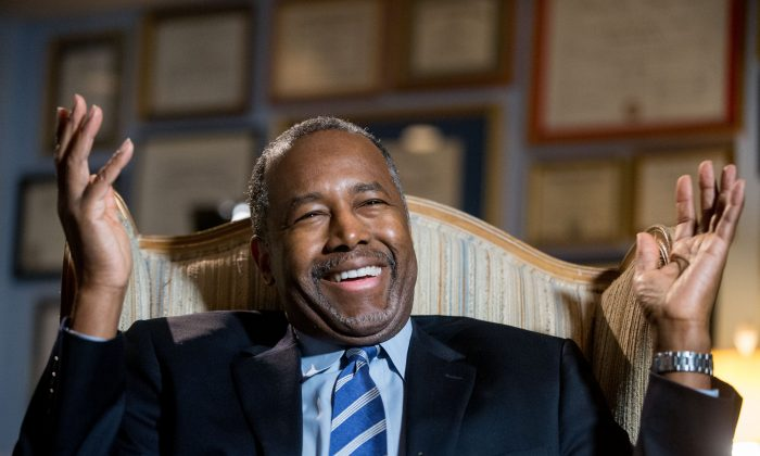 Republican presidential candidate Dr. Ben Carson smiles during an interview with The Associated Press in his home in Upperco, Md., on Dec. 23, 2015. (AP Photo/Andrew Harnik)