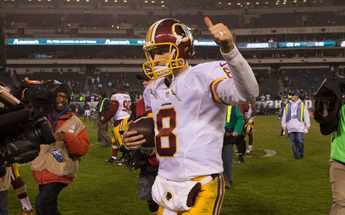 PHILADELPHIA, PA - DECEMBER 26: Kirk Cousins #8 of the Washington Redskins celebrates at the end of the game against the Philadelphia Eagles on December 26, 2015 at Lincoln Financial Field in Philadelphia, Pennsylvania.  The Redskins defeated the Eagles 38-24. (Photo by Mitchell Leff/Getty Images) *** Local Caption *** Kirk Cousins